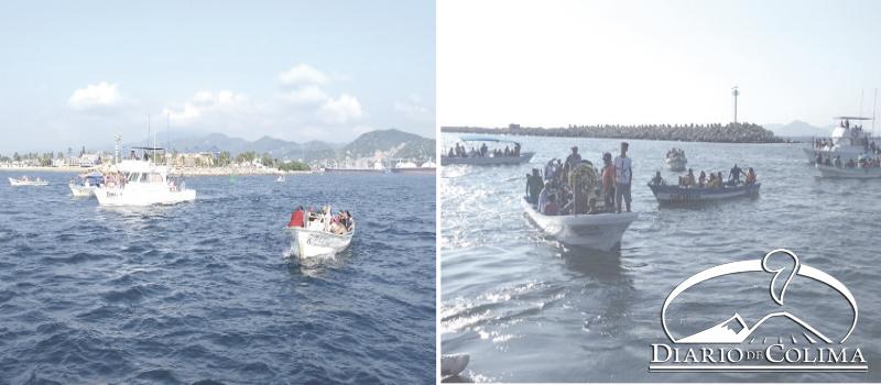 Pescadores, acompañados por sus familias, recorrieron la bahía de Manzanillo, con la imagen de San Rafael Arcángel, para depositar una ofrenda floral, en memoria de sus compañeros caídos.