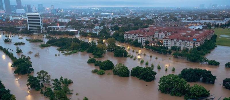 Vista de Houston la mañana del domingo ante las lluvias provocadas por Harvey.