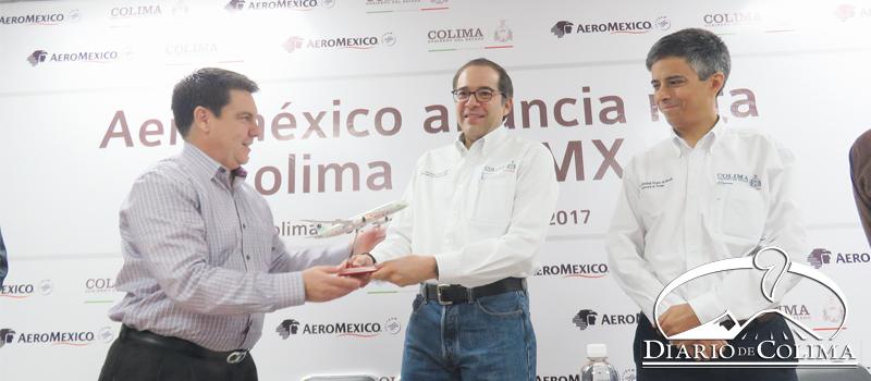 Anuncia Gobernador vuelo de Aeroméxico, Colima-Ciudad de México, a partir del 18 de septiembre.