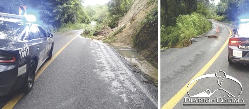 Agentes de la Policía Federal supervisan las condiciones de las carreteras tras las lluvias registradas en los últimos días.